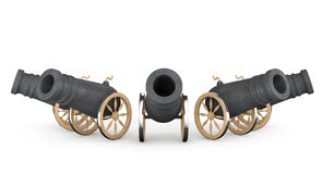 Old Pirate Cannons. On a white background Royalty Free Stock Photo