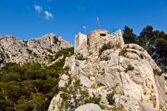 Old Pirate Castle in the Town of Omis Stock Images