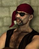 Old Pirate with Clay Pipe. Portrait illustration of an old pirate with an eyepatch leaning against a wall and smoking a clay pipe, 3d digitally rendered Royalty Free Stock Images