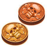 Old pirate coin with skull and crossbones. Vector Stock Photography