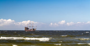 Old Pirate Galleon in the Baltic Sea Stock Photography