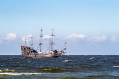 Old Pirate Galleon in the Baltic Sea Royalty Free Stock Images