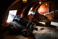 Old Pirate Galleon Cannons Inside Hold Space Stock Photos