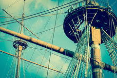 Old pirate galleon with ship masts vintage style Royalty Free Stock Photo
