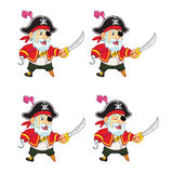 Old Pirate Game Sprite. Cartoon Illustration of Animation Sequence for Game Sprite Royalty Free Stock Photography