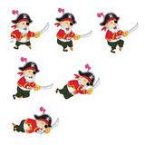 Old Pirate Game Sprite. Cartoon Illustration of Animation Sequence for Game Sprite Royalty Free Stock Photo
