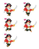 Old Pirate Game Sprite. Cartoon Illustration of Animation Sequence for Game Sprite Stock Photos