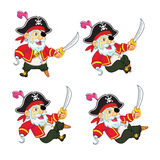 Old Pirate Game Sprite. Cartoon Illustration of Animation Sequence for Game Sprite Stock Photography