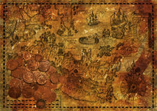 Old pirate map with ancient coins, collage Stock Image