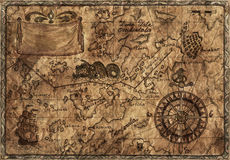 Old pirate map with desaturated effect. Hand drawn illustration of old pirate map with desaturated effect on grunge paper background stock illustration