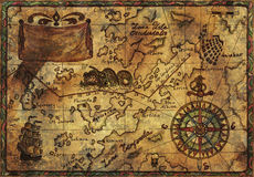 Old pirate map with fabric texture effect. Hand drawn illustration of old pirate map with fabric texture and desaturated effect Royalty Free Stock Photo