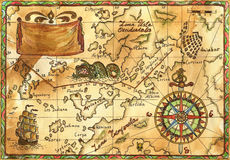 Old pirate map with ship, banner and rose of winds stock photography