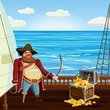 Old pirate with one leg and hook and saber, guards treasure chest on ship deck, vector, , cartoon style. Old pirate with one leg and hook and saber, guards royalty free illustration