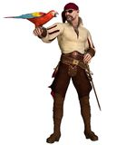 Old Pirate with Parrot. Old pirate with eye patch and bandana holding a scarlet macaw, 3d digitally rendered illustration Stock Images