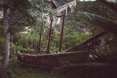 Old pirate sailboat in the jungle. Wild red flowers. image for background use stock photography