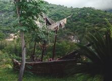 Old pirate sailboat in the jungle. Wild red flowers. image for background use royalty free stock photography
