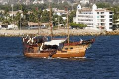 Old Pirate Ship. In Mexican waters Stock Image