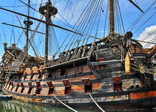 Old pirate ship. Copy detail with cannons royalty free stock photography