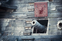 Old pirate ship. On dockyard - retro style toned photo Royalty Free Stock Photography