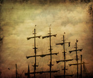 Old pirate ship. Grunge texture added Royalty Free Stock Photos