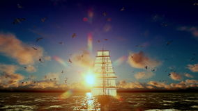 Old pirate ship sailing away, beautiful sunset with seagulls flying, tilt, sound included vector illustration