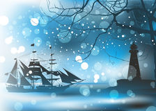Old pirate ship in sea Stock Photos