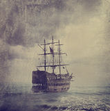 Old Pirate Ship. In the sea. Texture added Royalty Free Stock Images