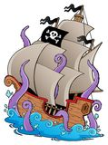 Old pirate ship with tentacles. Vector illustration Stock Images