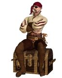 Old Pirate Sitting on a Treasure Chest. Old pirate with bandana, eyepatch and pipe, sitting on a treasure chest, 3d digitally rendered illustration Royalty Free Stock Photo