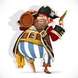 Old pirate with a wooden leg holding a keg of rum and pistol Stock Image