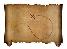 Old pirates map with marked treasure location. Isolated on white Stock Photos