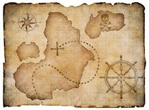 Old pirates parchment treasure map isolated Stock Photography