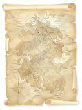 Old pirates treasure island map with marked location Stock Illustration