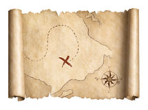 Old pirates treasure scroll map isolated 3d illustration royalty free illustration