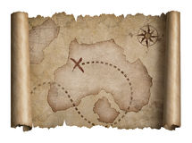 Old pirates treasure scroll with torn edges map isolated. Old pirates treasure scroll map with torn edges isolated on white stock images