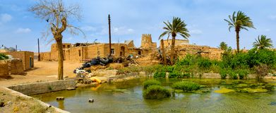 Old pise-walled Iranian village. The old pise-walled Iranian village located in a desert part of the country, in the center of the village the big tank for Royalty Free Stock Photography
