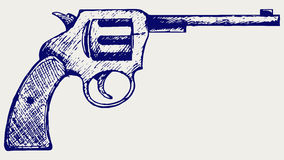 Old pistol. Vector. Doodle style vector illustration