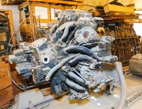 Old piston aircraft engine Stock Photo