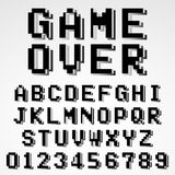 Old pixel video game alphabet font template. Old video game alphabet font template. Set of letters and numbers black and white pixel design. Vector illustration Royalty Free Stock Photo