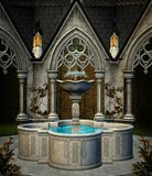 Old place of worship. Elf fountain in an ancient place of worship by a gothic building – 3D illustration vector illustration