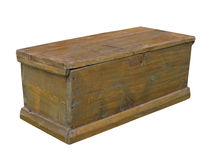 Old plain rustic wooden chest isolated. Royalty Free Stock Photos