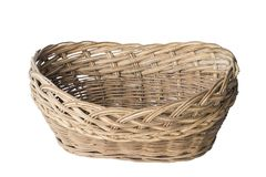 Old plaited empty basket. Old plaited empty brown rusty basket on white background, isolated royalty free stock image