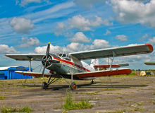 Old plane. In old German airbase in Russia Stock Photo
