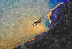Old plane the background of a stormy sky. Painting wet watercolor on paper. Naive art. Abstract art. Drawing watercolor on paper. Old plane the background of a stock photography