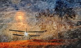 Old plane the background of a stormy sky. Painting wet watercolor on paper. Naive art. Abstract art. Drawing watercolor on paper. Old plane the background of a stock illustration