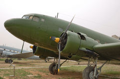 Old Plane C-47. Old C-47 transport plane in museum Stock Photo