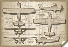 Old Plane Project in Five Views. Detailed illustration of a Plane Project in Five Orthogonal views Stock Photos