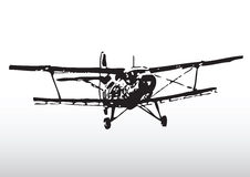 Old Plane Silhouette. Hand drawn illustration Old Plane Silhouette Stock Images
