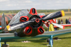 Old plane. Old single-engine plane closeup. View of the propeller and the engine. View of the propeller and the engine. Shallow depth of field Royalty Free Stock Photos