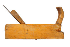 Old planer. Old wooden planer isolated on white background Stock Photo